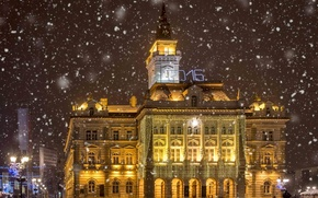 Picture lights, Night, Lights, Snowflakes, garland, night, Serbia, Novi Sad