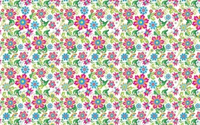 Picture flowers, background, Wallpaper, figure, texture, ornament, leaves, cornflowers