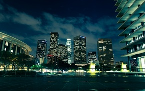 Picture USA, United States, skyline, night, Los Angeles, California, glow, evening, street, buildings, outside, skyscrapers, urban, …