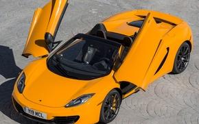 """Picture McLaren, supercar, Spyder, MP4-12C, orange, door """"butterfly wings"""""""