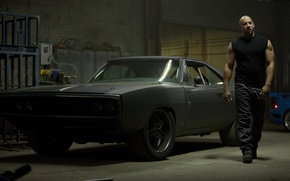 Picture car, black, actor, black, Dodge, dodge, muscle, charger, 1970, fast five, vin diesel, VIN diesel, …