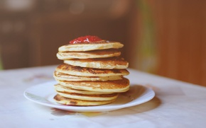 Picture background, red, widescreen, Wallpaper, food, plate, wallpaper, pancakes, widescreen, background, sweet, jam, full screen, HD …