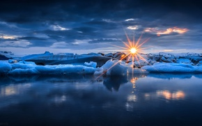 Picture ice, winter, sea, the sky, water, the sun, clouds, rays, snow, sunset, nature, ice, sky, …