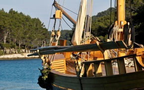 Picture boat, sail, wooden, rigging, paddles, deck, sailboat, traditional