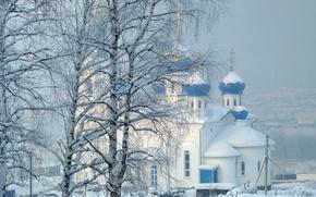 Wallpaper temple, trees, snow, winter