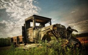 Wallpaper truck, old photo, 156, broken
