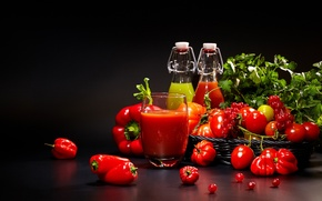 Picture food, juice, drink, vegetables, tomatoes, parsley, pepper