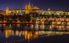 Picture Prague, Czech Republic, night city, Prague, Charles bridge, Czech Republic, Charles Bridge, the Vltava river, …