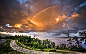 Wallpaper rainbow, trees, clouds, Road