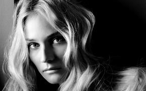 Picture look, girl, black and white, actress, blonde, Diane Kruger, Diane Kruger, hair