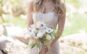 Picture girl, flowers, bouquet, dress, the bride, wedding