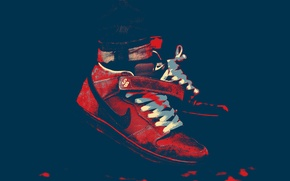 Picture red, blue, brand, Nike, dunk