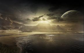 Picture sea, sunrise, the moon, meteor