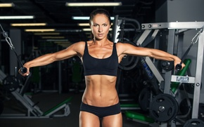 Picture model, pose, workout, fitness, gym, dumbbells