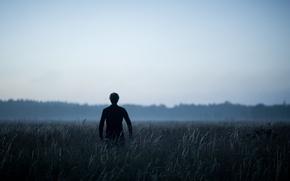 Wallpaper grass, field, morning, fog, man, dawn, back, mist