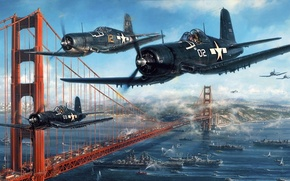 Wallpaper Strait, the plane, figure, ships, Golden Gate Bridge, UNITED STATES AIR FORCE, carrier-based fighter, the ...