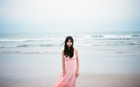 Picture waves, girl, beach, dress, sea