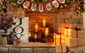 Picture holiday, candles, fireplace, Happy New Year, Merry Christmas, gift, holiday, candles, fireplace, Happy New year, …