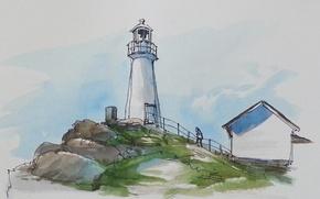 Wallpaper lighthouse, figure, watercolor