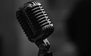 Picture macro, style, music, Microphone, bokeh, black and white