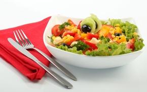 Wallpaper greens, corn, cheese, plate, knife, plug, tomatoes, napkin, cucumbers, salad, olives, Cutlery
