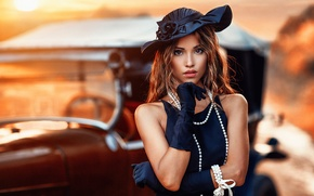 Picture dress, girl, bokeh, makeup, hairstyle, beauty, car, brown hair, gloves, Alessandro Di Cicco, beads, retro, ...