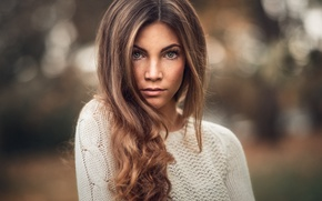 Picture autumn, look, girl, model, portrait, makeup, freckles, brown hair, blue-eyed, beauty, sweater, bokeh, Sophie, Martin …