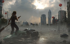 Picture the sky, water, girl, the city, building, the raft, Global flood