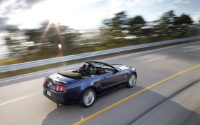 Picture road, speed, convertible, Mustang gt