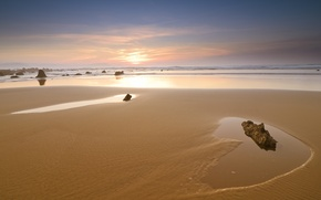 Picture sand, sea, the sky, stones, shore, Sunset