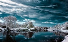 Wallpaper lake, snow, winter