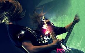 Picture hair, guitar, words, Rockstar