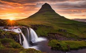Picture the sky, the sun, clouds, rocks, mountain, waterfall, the volcano, Iceland, Kirkjufell