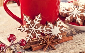 Picture snowflakes, berries, New Year, cookies, Christmas, Cup, sweets, red, cinnamon, Christmas, cakes, New Year, spices, …