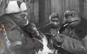 Picture war, USSR, ninja, Rafael, turtles, Donatello, Leonardo, Michelangelo