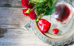 Picture flowers, holiday, wine, heart, glass, roses, tray, dish