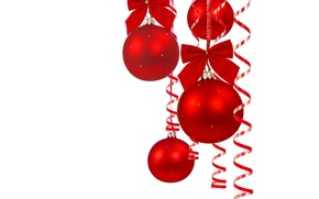 Picture balls, red, new year, bows, tinsel, serpentine