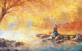 Picture girl, river, stones, tree, foliage, garden, art, painted landscape
