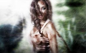 Picture look, girl, rain, Tomb Raider, Lara Croft, Lara Croft