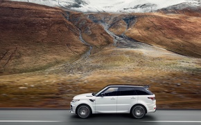 Picture mountains, movement, speed, track, valley, Range Rover, the view from the top, Sport, Overfinch