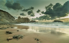 Picture sea, beach, the sky, water, clouds, landscape, nature, the ocean, rocks