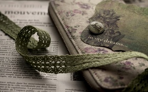 Picture lightning, newspaper, fabric, green, vintage, case, bookmark, button