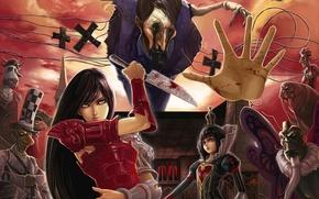 Picture blood, art, knife, Alice, Queen, dantewontdie, alice: madness returns, puppeteer