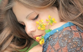 Picture girl, flowers, face, model, Elena, Elena M