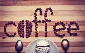Picture the inscription, coffee, grain, marshmallows, spoon