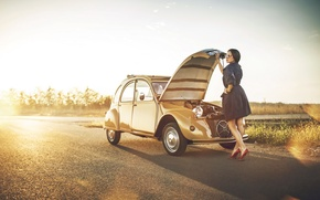 Picture road, girl, the situation, failure, hq Wallpapers, Citroen 2CV