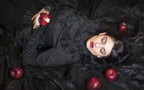 Picture girl, apples, sleep, the situation, makeup, sleeping beauty, black dress
