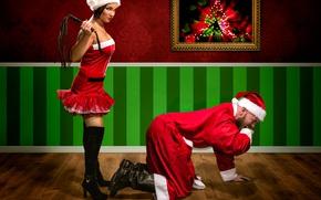 Wallpaper girl, man, the situation, picture, Santa Claus, punishment, whip, Helena Shells, Jake Mattila