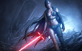 Picture chest, fiction, body, star wars, art, fan art, lightsaber, sith, Kylo Jen
