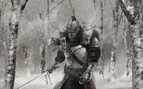 Wallpaper knight, snow, Dark Souls 2, winter, art, armor, sword, Dark Souls II, forest